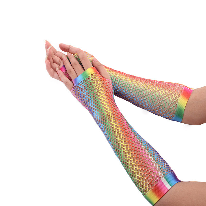 Hollow Out Holes Gloves Rainbow Print Disco Dance Costume Performance Fingerless Mesh Fishnet Gloves Women