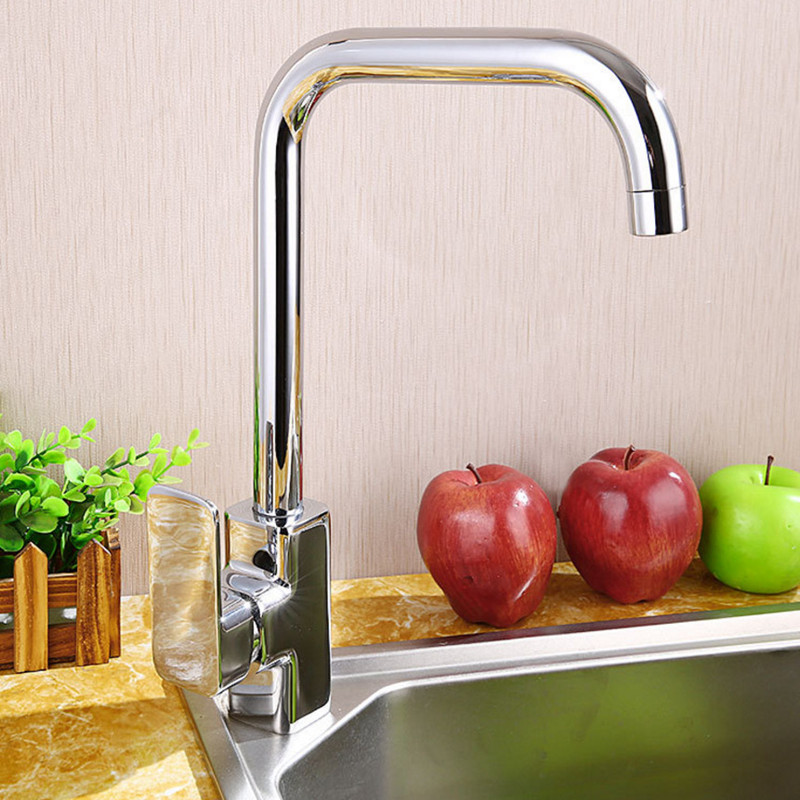 Free shipping Hot selling Polished chrome kitchen mixer tap with deck mounted solid brass kitchen sink