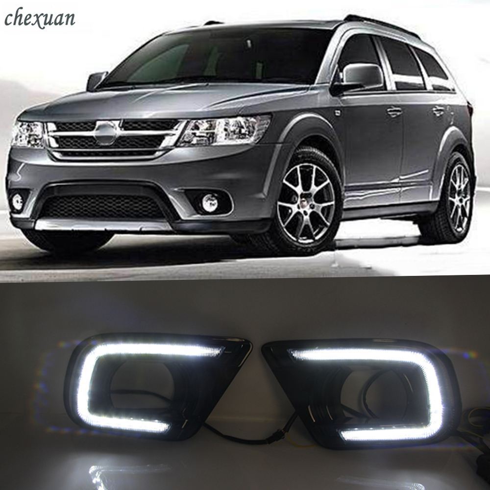 CSCSNL 1 set LED DRL Daytime Running Lights ABS Fog Lamp Cover With turn yellow signal
