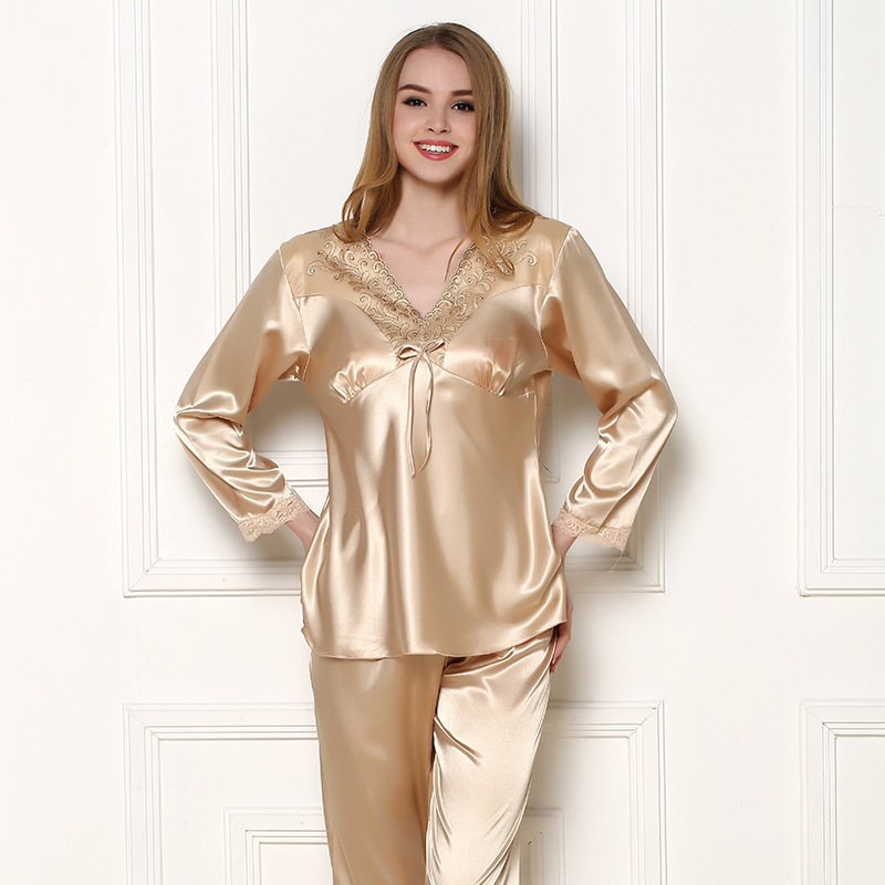 Aliexpress.com : Buy Hot Sale Silk Lovers Pajama Set Women Man ...