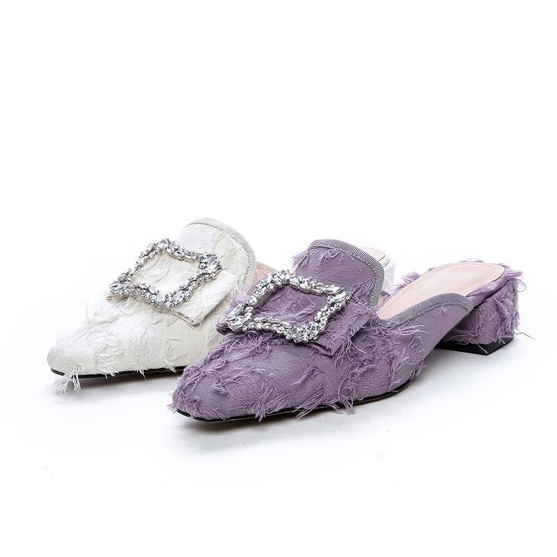 Las L12 Dulce Mulas Parte Mujeres púrpura Tacones Del Pie Casual Slip 2019 Dedo Med On Superestrella Beige Olla De Sandalias Hebilla Krazing Cuadrado Marca Of1AUqHq