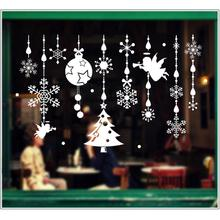 Christmas Decorative Decal Window Glass PVC Wall Sticker Removable Merry tree Snowflake Home Decor