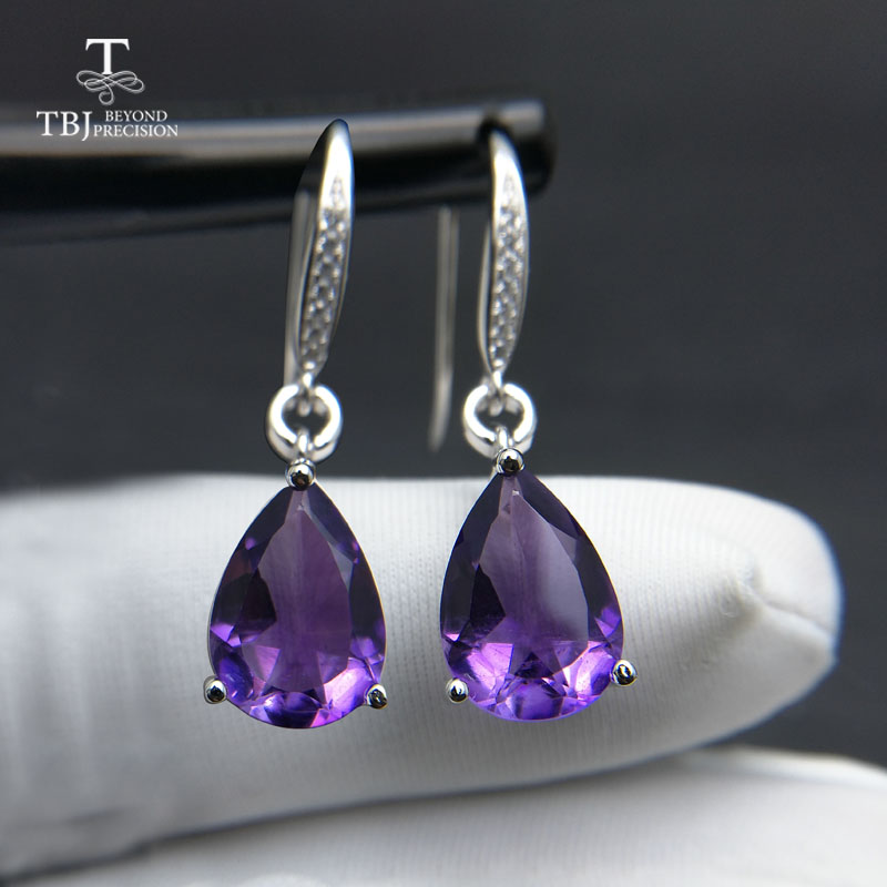 TBJ Water Drop 6ct Genuine african amethyst gemstone Dangle hook Earrings Pure 925 Sterling Silver Fine