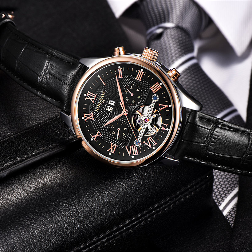2017 BINSSAW Watches Men Luxury Top Brand New Fashion Mens Big Designer Automatic Mechanical Male Wristwatch relogio masculino