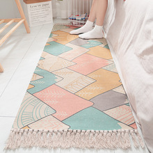 Japan India Style Cotton Hand-woven Bedside Carpet For Living Room Home Plaid Floor Rugs Mats Kids  Area Rug Tassel