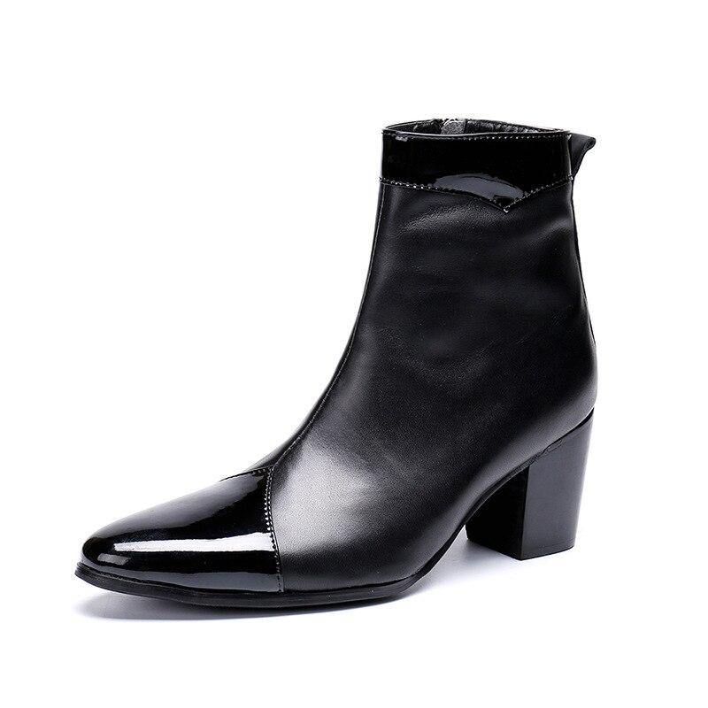 Escritório Plus Sapatos Size Dedo Moda Boots Genuínos Italianos De Clássico Grife Botas Preto Salto Dos Couro Ankle Black Apontado Alto Homens WZUqwHSqv
