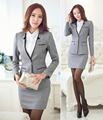 New 2015 Autumn Winter Professional Business Women Work Wear Suits Blazer And Skirt Formal Career Ladies Office Work Wear Sets