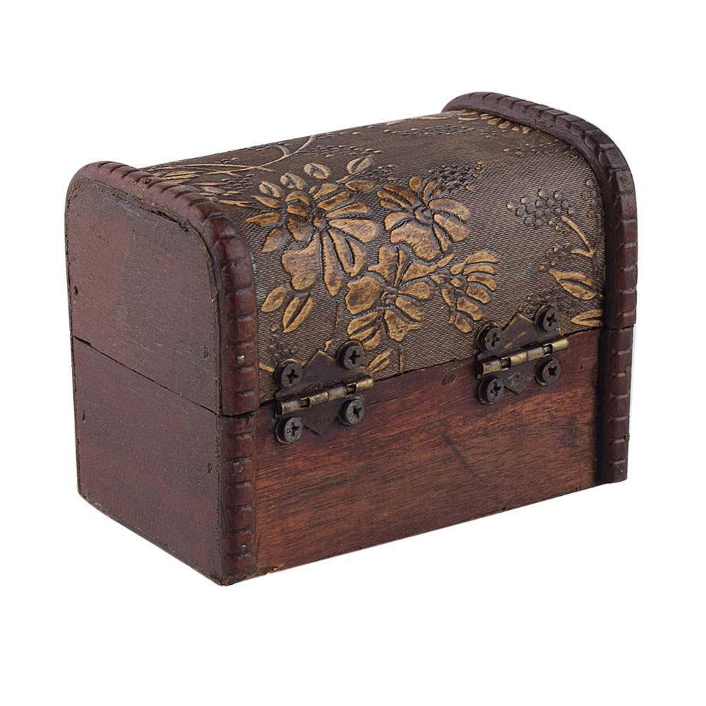 Stylish vintage metal lock jewelry treasure chest case for Big box jewelry stores