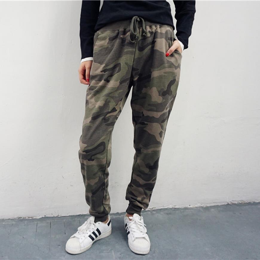 Wholesale 2017 spring autumn Camouflage drawstring pants women casual pants Loose pants female trousers harem pants