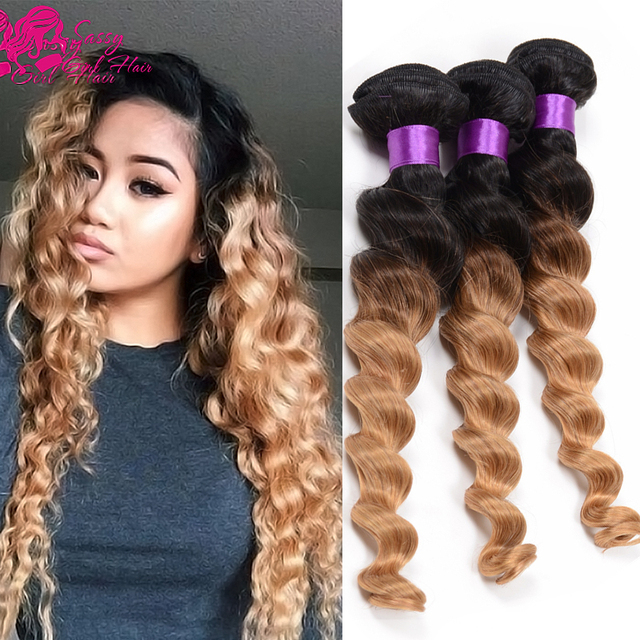 Peruvian Loose Wave 4 Bundles 7a Peruvian Blonde Ombre Two Tone Human Hair Weave Extensions Peruvian Virgin Hair Loose Wave