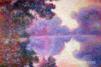 Art Gift Misty Morning on the Seine (pink) Claude Monet Painting on Canvas High quality Hand painted