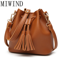 MIWIND New Fashion PU Women Leather Bucket Tassel Handbags Women's Crossbody Bags Shoulder Bags High Quality Hand Bags TAS237
