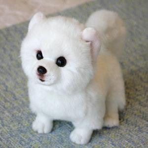 Image 3 - Peluche Pomerania cane bambola cane di Simulazione giocattoli animali di peluche super Realistico giocattolo del cane per gli amanti degli animali di lusso della decorazione della casa da neve bianco