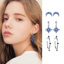 3 Pairs/set Fashion Stars and Moon Earrings Set Women Creative Crystal Dangle