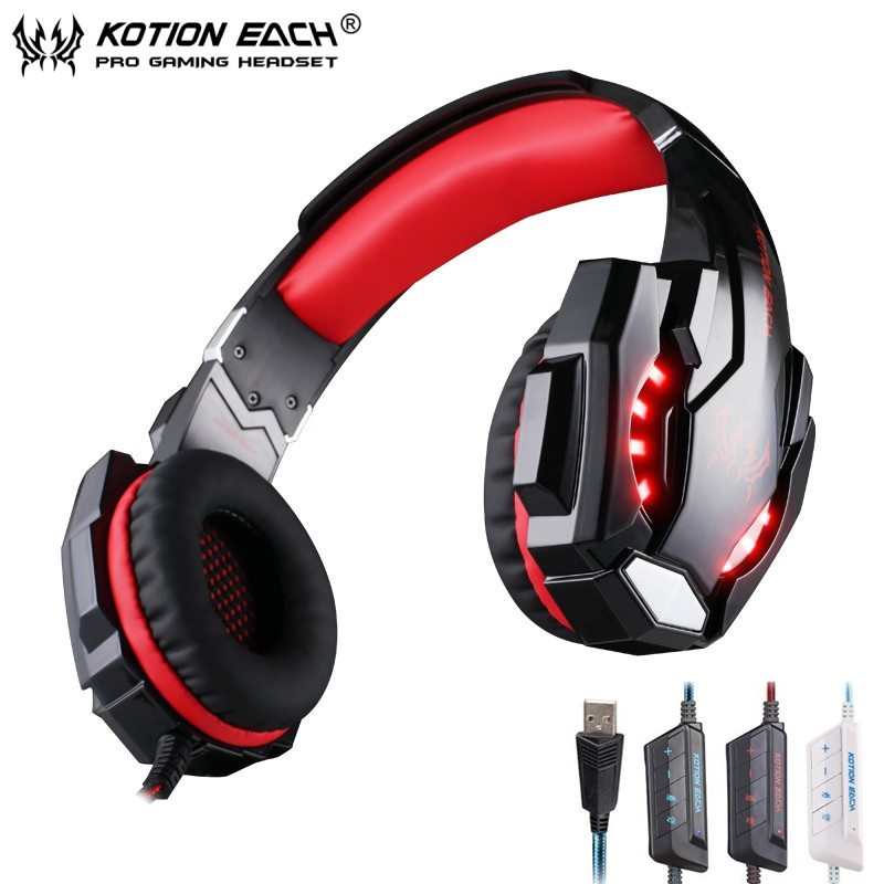 KOTION EACH G9000 7.1 Surround Sound Gaming Headphone Game Stereo Headset with Mic LED Light Headband for PS4 PC Tablet Phone huhd 7 1 surround sound stereo headset 2 4ghz optical wireless gaming headset headphone for ps4 3 xbox 360 one pc tv earphones
