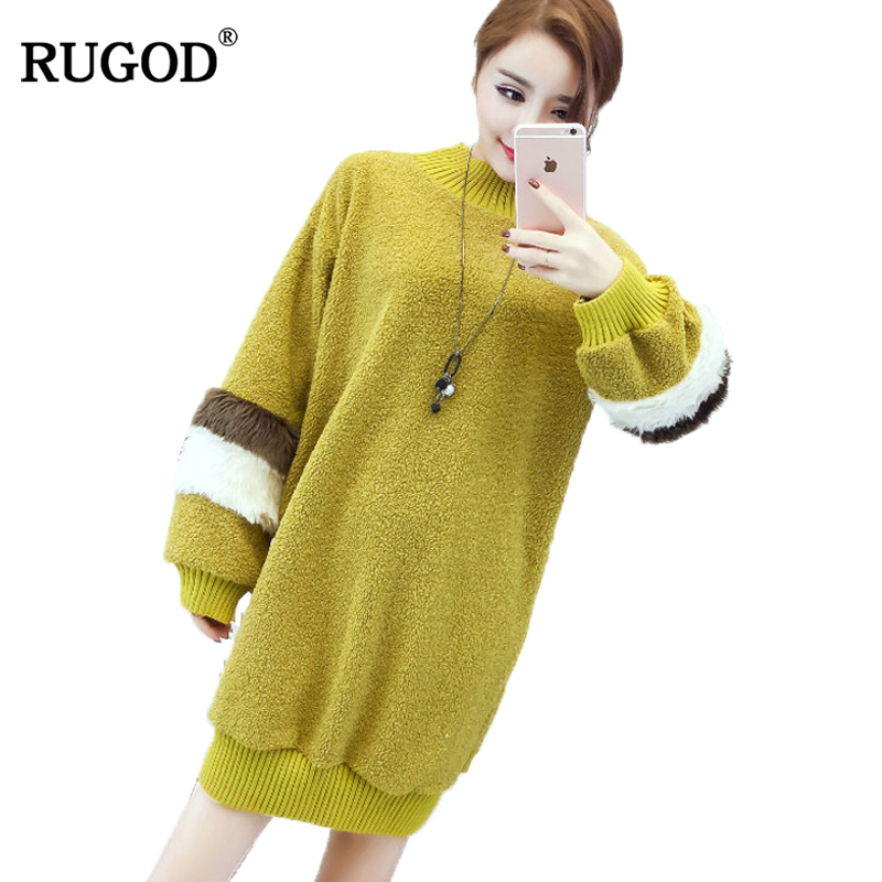 RUGOD 2017 o neck puff sleeve knitted sweater dress women Cotton loose casual sweater dress pullover female Autumn winter dress