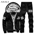 Winter Wool Hoodies Men Thick Warm hooded Sweatshirts Set Casualmens Sweat Suits Men Outwear Plus Size hoodie suits for men