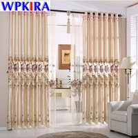 Europe Embroidery Floral Tulle Design for Windows Curtains Drape For Living Room Bedroom Fancy Lace Curtains Blackout Curtain 30