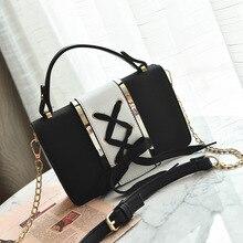 Messenger Female Purses Pu Leather Bow Lace Designer Shoulder Bag Women Handbag Flap Chain Patchwork Ladies Purse bow decor flap pu bag