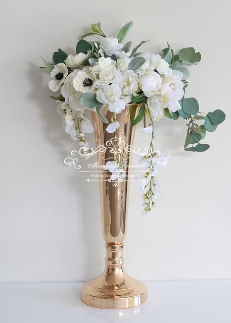 Gold Trumpet Floral Vase For Modern Glam Weddings Floor Vases