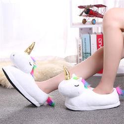 2018 Winter Warm Indoor Slippers Cute Cartoon Plush Unicorn Slippers for Grown Ups White/Black Unisex Home Slippers DJS01W
