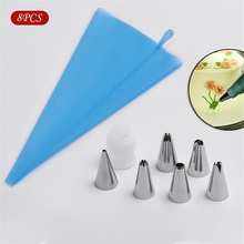 TTLIFE 8PCS Silicone Kitchen Accessories Icing Piping Cream Pastry Bag 6 Stainless Steel Nozzle Set DIY Cake Decorating Tips