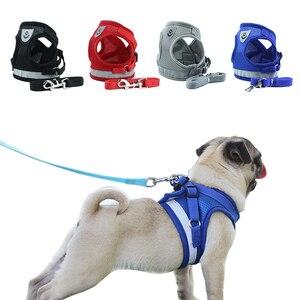 Image 1 - Köpek koşum tasma yaz Pet ayarlanabilir yansıtıcı yelek yürüyüş kurşun köpek Polyester örgü koşum küçük orta köpek için