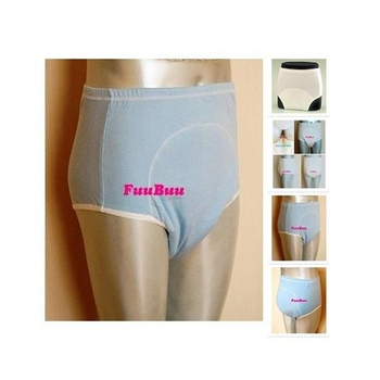 Free Shipping FUUBUU2101-BLUE-L  Unisex Incontinence Briefs + Waterproof Pants Physiological Health Pants Leakproof Wall