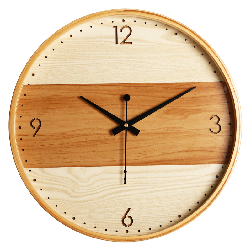 Brief living room wooden wall clock Refinement Office wood Round the wall clocks Idyllic village bell