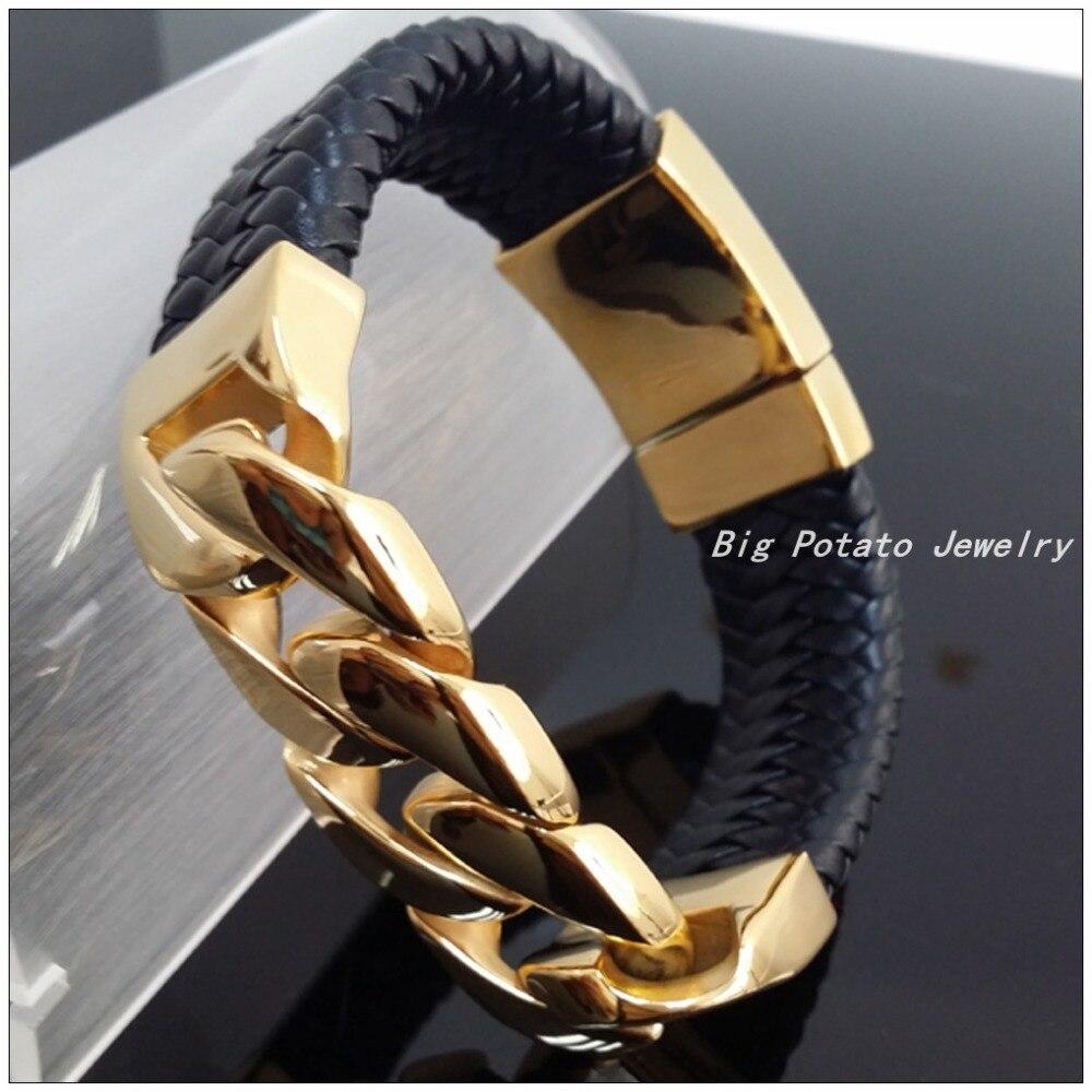 Nouveau Design 100g 316L en acier inoxydable or et noir en cuir armure Bracelets Bracelets pour hommes et garçons, technologie parfaite-in Bracelets ficelle et chaîne from Bijoux et Accessoires    3