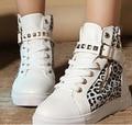 2016 новая мода Осень Зима женская Leopard Холст Обувь С Высоким верхом Заклепки Ankel обувь Дышащая Обувь Для Девочек