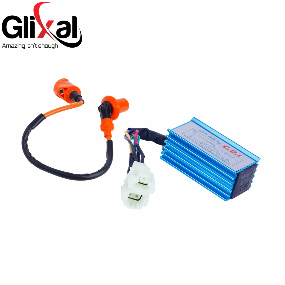 Glixal High Performance 6-pin AC Racing CDI Box + Ignition Coil For GY6 50cc 125cc 150cc 139QMB 152QMI 157QMJ Scooter Moped ATV 6 pin performance cdi 50cc 150cc скутеры квадроциклы go картинг gy6 транспорт двигатель