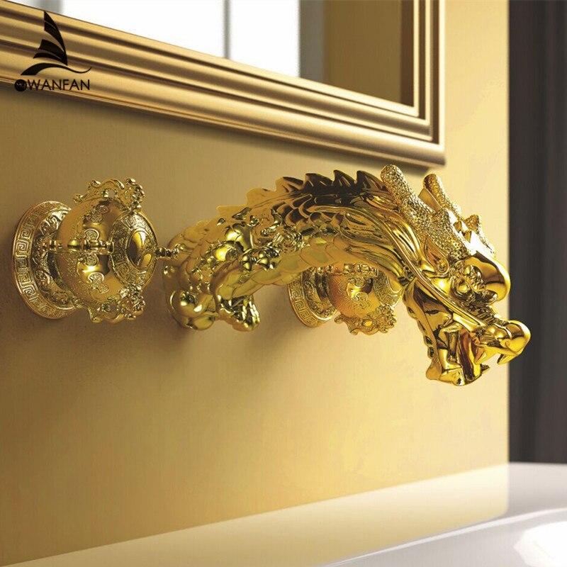 Montagem Na Parede Torneira banheira Estilo Barroco Ouro Latão Banheiro Lavatory Sink Faucet Dragão Dupla Handles Torneira Misturadora Bacia LB-69C018-A