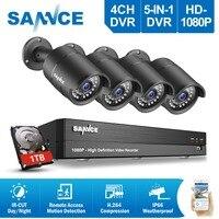 SANNCE 4CH 1080 P HD CCTV системы 2400tvl DVR 4 шт. 2.0MP ИК Ночное видение камеры безопасности 1080 товары теле и видеонаблюдения комплект 1 ТБ HDD