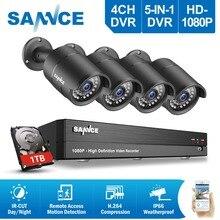 SANNCE 4CH 1080 P HD système de vidéosurveillance 2400tvl DVR 4 pièces 2.0MP IR Vision nocturne caméras de sécurité 1080 P kit de vidéosurveillance 1 to HDD