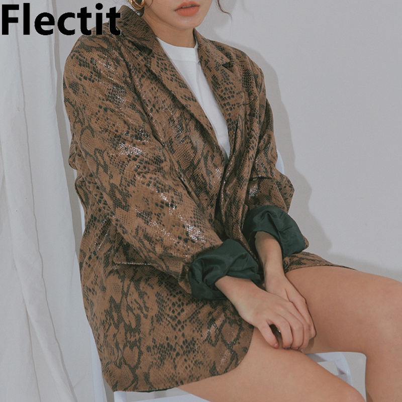 Flectit Vintage Chic Women Snake Blazer Notched Collar Long Sleeve Single Breasted Animal Snake Skin Print Blazer Coat