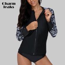 Charmleaks Women Long Sleeve Zipper Rashguard Shirt Swimsuit Floral Print Swimwear Surfing Top Hiking Rash Guard UPF50+