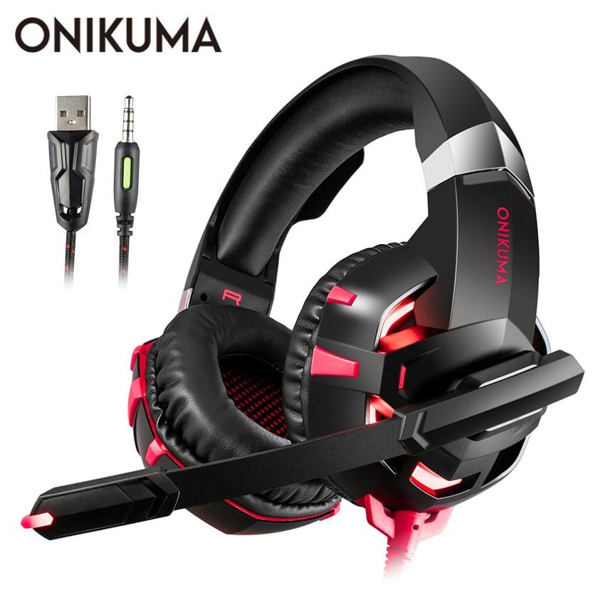 ONIKUMA K2 PS4 Gaming Cuffie casque PC Gamer Auricolare Stereo Auricolari con Microfono LED per il Computer Portatile Nuovo Xbox One Tablet