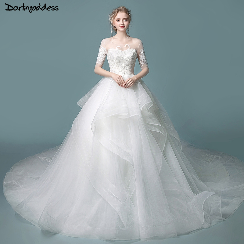 Wedding Gowns With Ruffles: Vestido De Novia Vintage Half Sleeve Wedding Dresses Plus