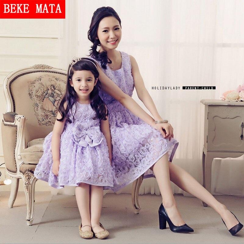 2016 printemps Rose broderie robes de fête de mariage 3 couleurs mode mère fille robes arcs correspondant maman fille vêtements