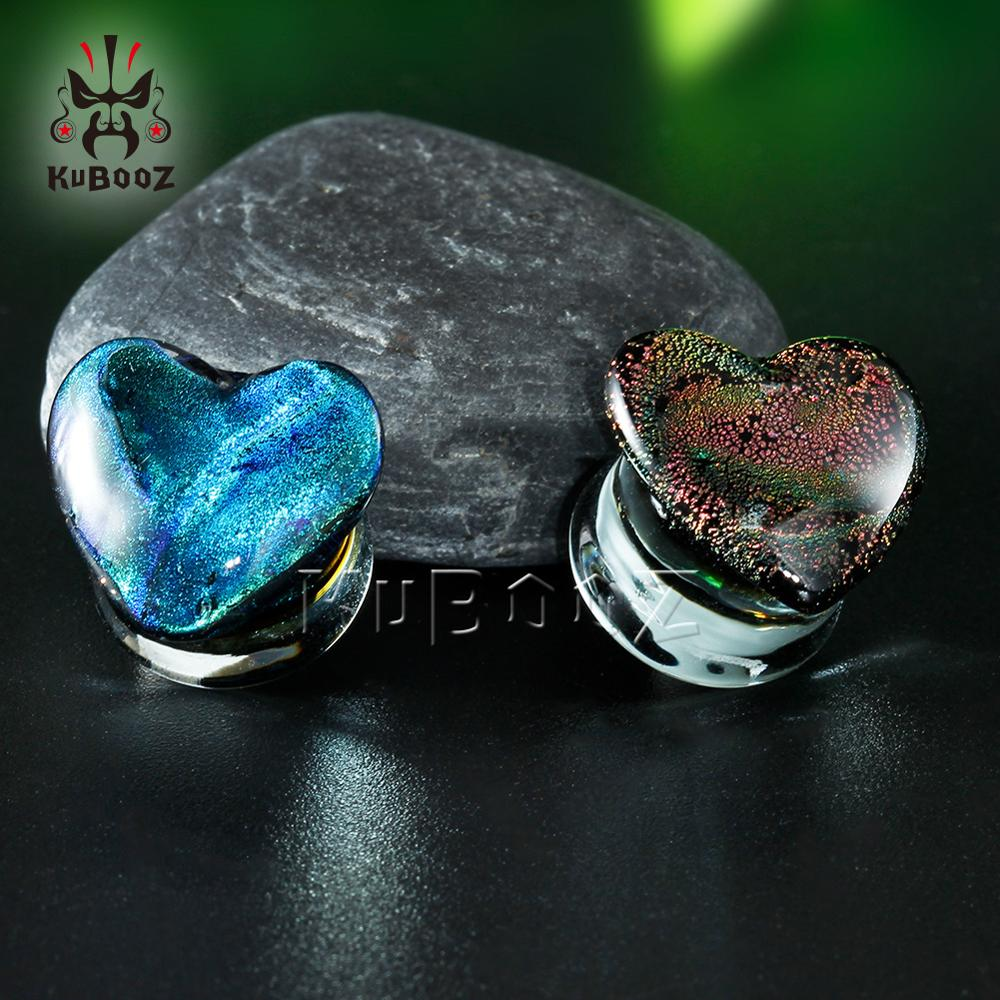 Heart Shaped Glass Ear Piercing Plugs Strechers Fashion Body Jewelry Gift For Women Men Mutil Color 8mm