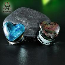 Heart Shaped Glass Ear Piercing Plugs Strechers Fashion Body Jewelry Gift For Women Men Mutil Color 8mm