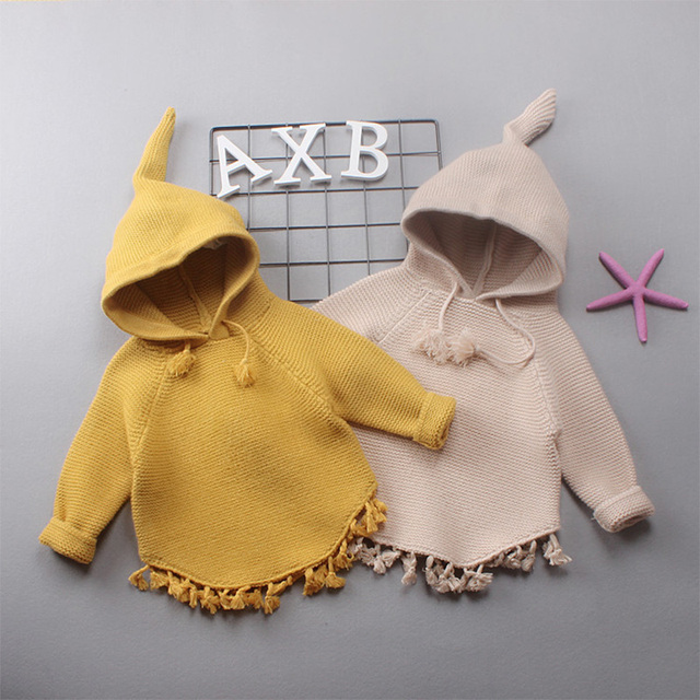 Fashional Autumn Winter Baby Girls Long Sleeve Hooded  Knitwear Pullover Sweater Outerwear Kids Sweater