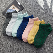 Glitter-Socks Silk Women Spring Lady Candy-Color Summer Woman No for Sliver Shiny Short
