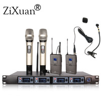 4 channel UHF dynamic professional karaoke OK Wireless microphone system U4000u professional Musical instrument microphone