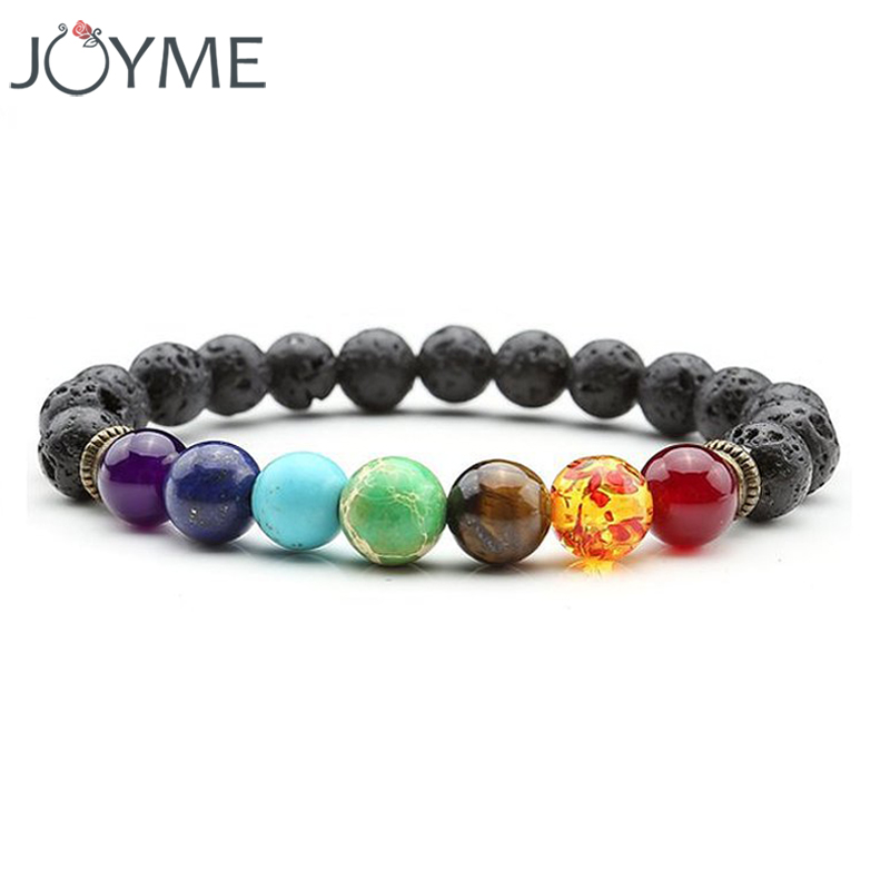 Joyme 7 Chakra Bracelet For Men Women Black Lava Healing Balance Beads Reiki Prayer Natural Stone Yoga Bracelet For Men Women lava rock 7 chakra bracelet