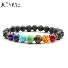 2016 New 7 Chakra Bracelet Men Black Lava Healing Balance Beads Reiki Buddha Prayer Natural Stone Yoga Bracelet For Women