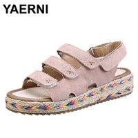 YAERNI Flat Platform Sandals Shoes Women Fashion Thick Bottom Mid Heel Hemp Summer Cow Suede Leather