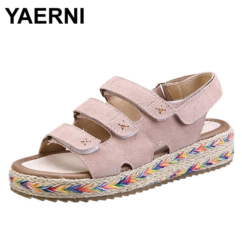 YAERNI Flat Platform Sandals Shoes Women Fashion Thick Bottom Mid Heel Hemp Summer Cow Suede Leather Sandals Woman yaerni thick mid heel nubuck leather lace floral bowknot pearl rivets summer women fashion sandals ankle boots plus size 32 42