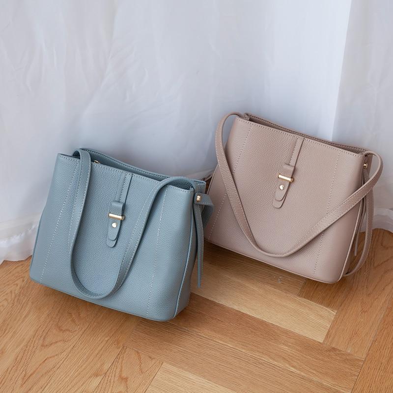 Venof 패션 여성 정품 가죽 어깨 가방 대용량 간결한 올려 놓 가방 여성 메신저 가방 여성을위한 크로스 바디 가방-에서숄더 백부터 수화물 & 가방 의  그룹 1